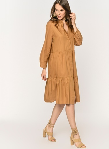 Loves You Fırfır Detaylı Gömlek Elbise Camel